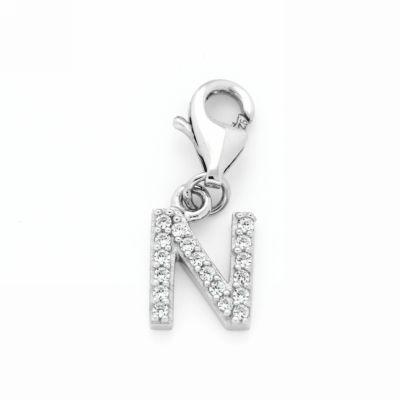 Buchstaben-Charm N Silber 925 rhodiniert