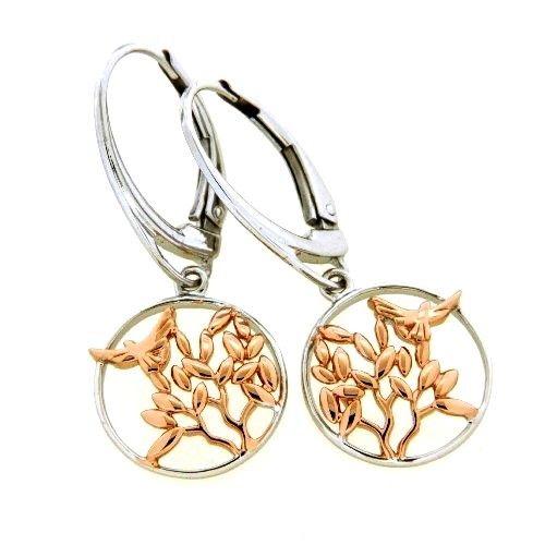 Ohrpendel Silber 925 rhodiniert & rosé vergoldet Lebensbaum mit Vogel