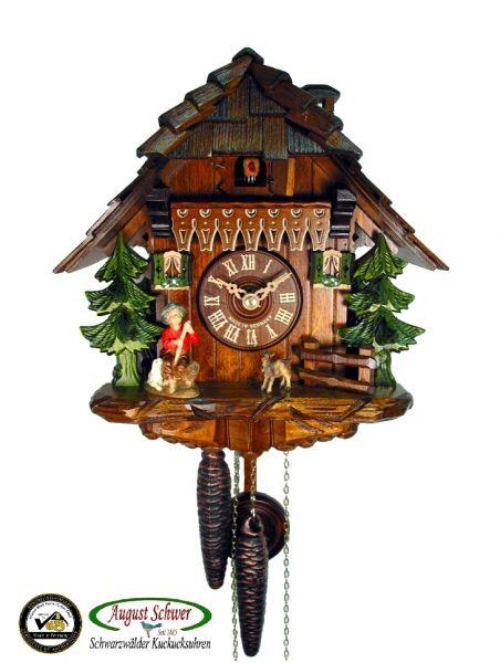 August Schwer Kuckucksuhr 1T Haus mit Ziegenhirte 25 cm 1.0319.01.C