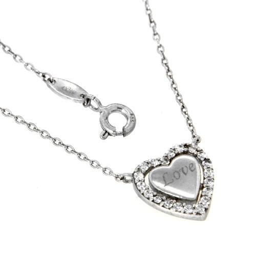 Collier Silber 925 rhodiniert 45-42 cm Herz