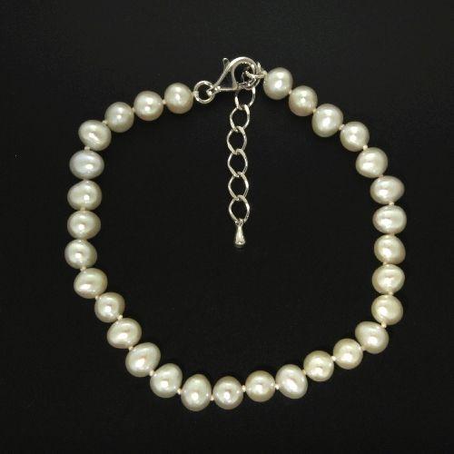 Süßwasser-Perlenarmband (6,5 mm) 19+3 cm Silber 925 rhodiniert