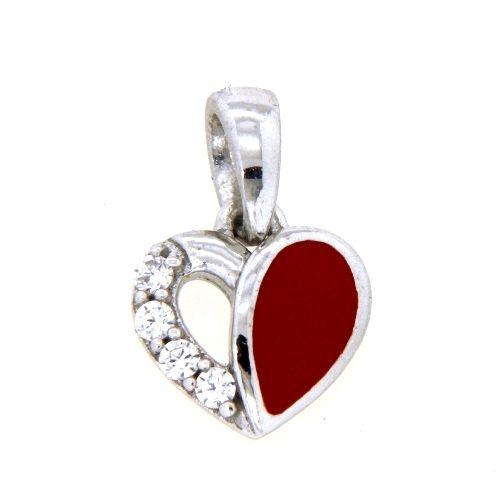 Anhänger Silber 925 rhodiniert Herz rot lackiert