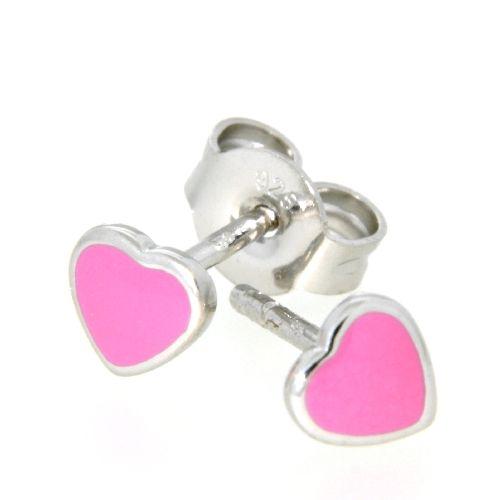 Ohrstecker Silber 925 Herz pink