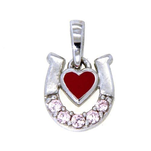 Anhänger Silber 925 rhodiniert Hufeisen mit rosa Herz