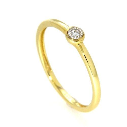 Ring Gold 585 bicolor Gelbgold/Weißgold zweiteilig Weite 52 Brillant 0,02 ct. WSI
