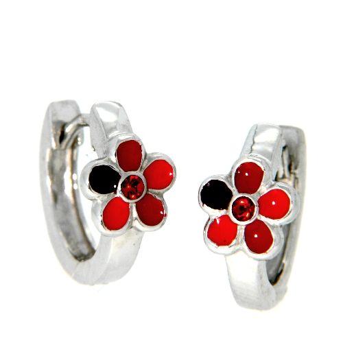 Scharniercreolen Silber 925 rhodiniert Blume rot