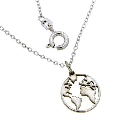 Collier Silber 925 rhodiniert Weltkugel 45 cm