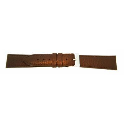 Uhrarmband Leder 18mm extralang (XL) dunkelbraun Edelstahlschließe