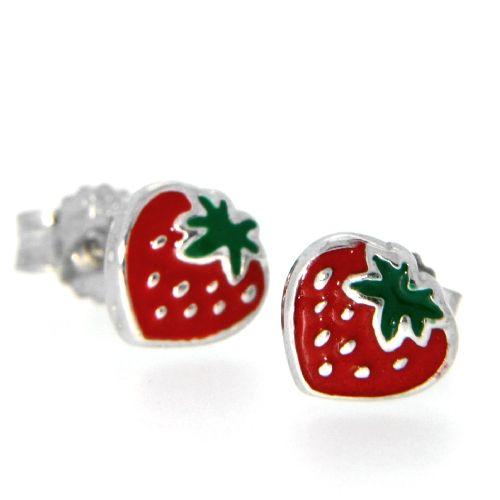 Ohrstecker Silber 925 rhodiniert Erdbeere rot