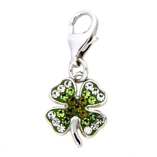 Charm Silber 925 Kleeblatt Glassteine weiß und grün