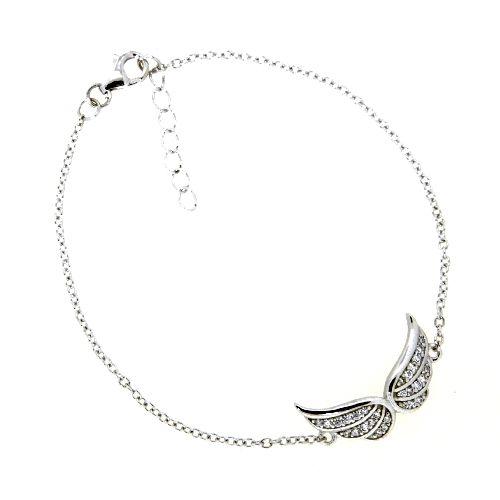 Armband Silber 925 rhodiniert 17+2 cm Engelsflügel Zirkonia