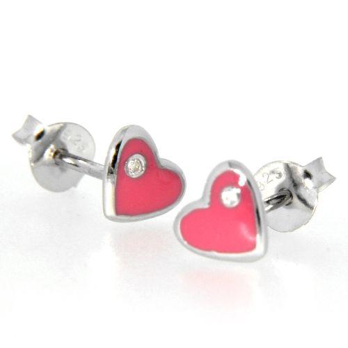 Ohrstecker Silber 925 rhodiniert Herz pink