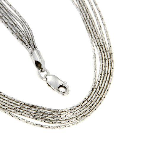 Kette Silber 925 rhodiniert 42 cm + 5 cm 6-reihig