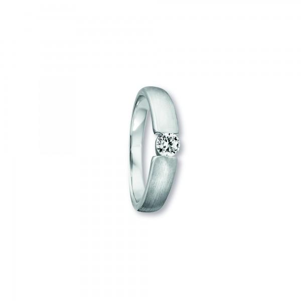 Ring Spannfassung Zirkonia 925 Silber rhodiniert Größe 55