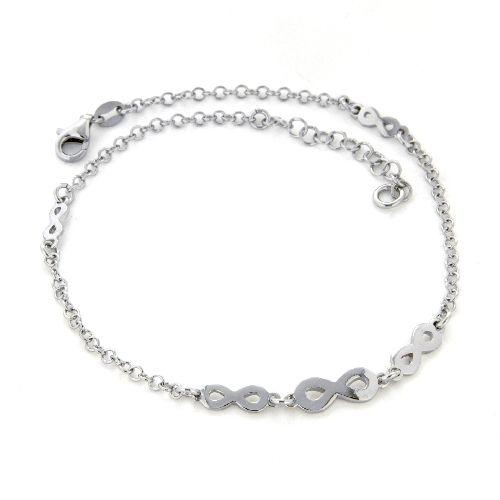Fußkette Silber 925 rhodiniert 23 cm + 3 cm unendlich