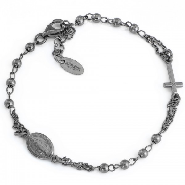 AMEN Armband 18 + 2 cm Silber Rosenkranz BRON3