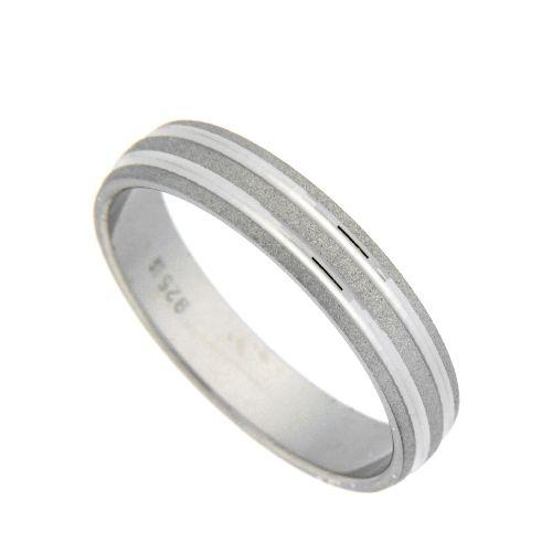 Freundschaftsring Silber 925 rhodiniert Breite 4 mm Weite 54