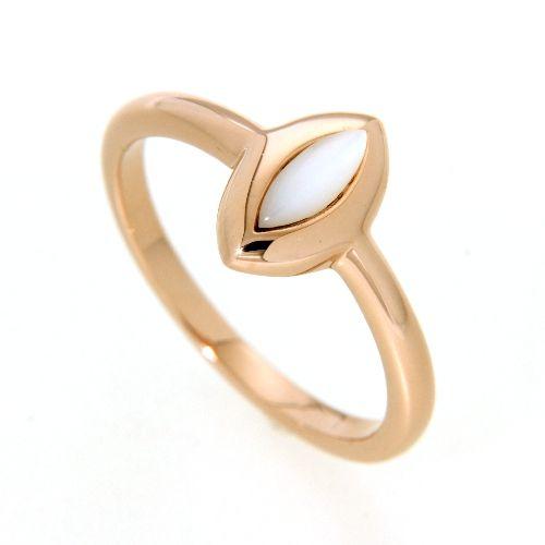 Ring Silber 925 rosé vergoldet Perlmutt Weite 56