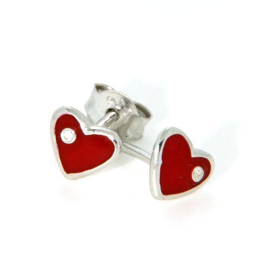 Ohrstecker Silber 925 rhodiniert Herz rot
