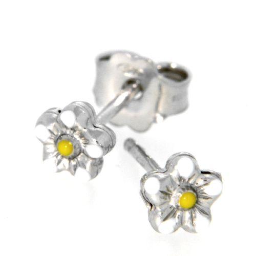 Ohrstecker Silber 925 rhodiniert Blume weiß und gelb