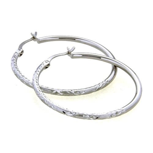 Creolen Silber 925 rhodiniert 2 mm x 34 mm
