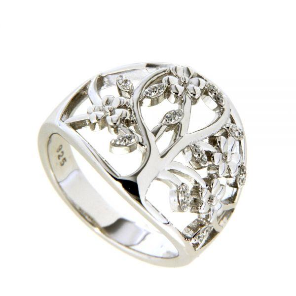Ring Silber 925 rhodiniert Lebensbaum Weite 56