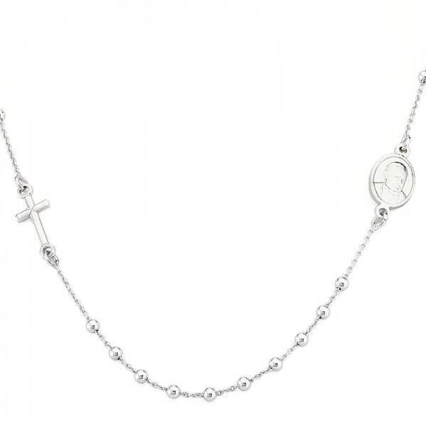 AMEN Kette 46 + 2 cm Silber Rosenkranz CROB25