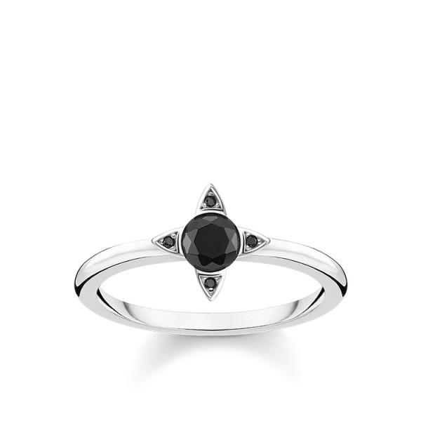 Thomas Sabo Ring schwarze Steine Größe 54 TR2268-643-11-54