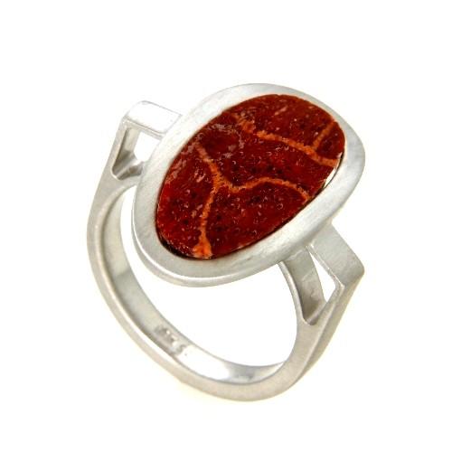 Ring Silber 925 rhodiniert Sponga Koralle Weite 56