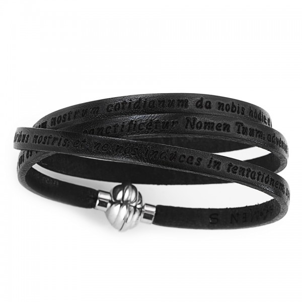 AMEN Armband 60 cm Leder schwarz VATER UNSER Latein PNLA02-60
