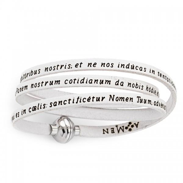 AMEN Armband 54 cm Leder weiß VATER UNSER Latein PNLA07-54
