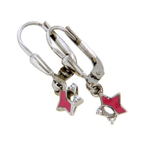 Ohrpendel Silber 925 rhodiniert Stern pink lackiert