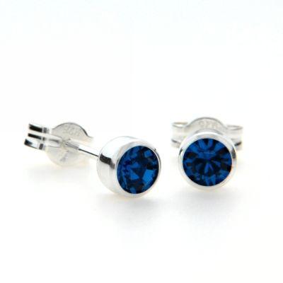 Ohrstecker Silber 925 Glas dunkelblau 4mm