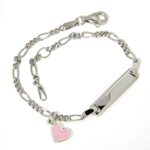 Identitäts-Armband Silber 925 rhodiniert 16 cm - 14 cm Herzanhänger (Lack rosa)