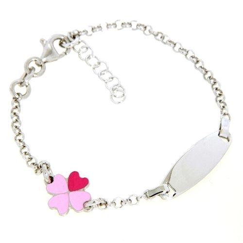 Identitäts-Armband Silber 925 rhodiniert 14 cm + 2 cm Herzkleeblatt rosa und pink lackiert
