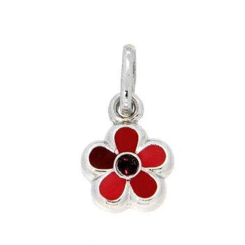 Anhänger Silber 925 rhodiniert Blume rot