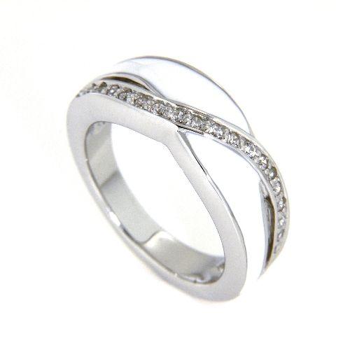 Ring Silber 925 rhodiniert Zirkonia Lack weiß Weite 60