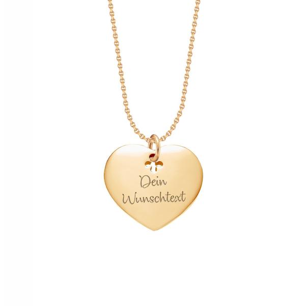 Beka&Bell Herzkette Chester vergoldet 42 cm gravierbar