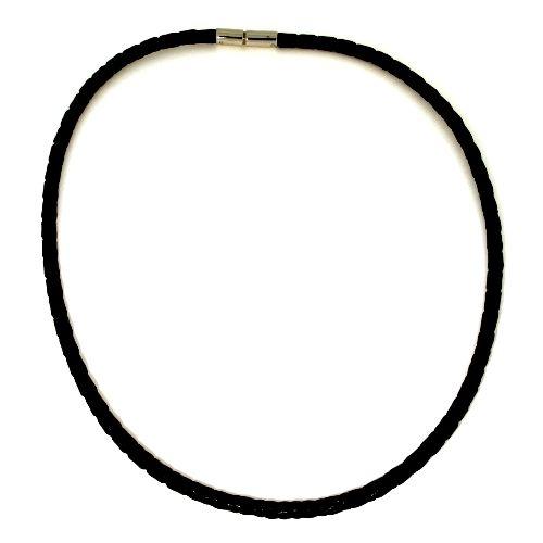 Ledercollier (4mm) Edelstahl 42 cm Bajonettverschluss schwarz