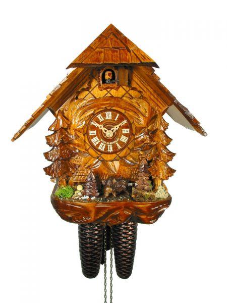 August Schwer Kuckucksuhr 8T Haus Wildschwein 30 cm 2.0401.01.C