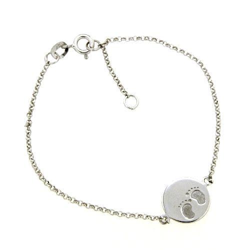 Armband Silber 925 rhodiniert 19-17 cm Gravurplatte Füßen