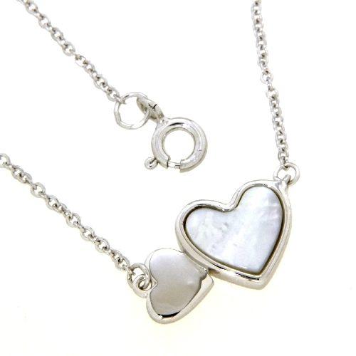Collier Silber 925 rhodiniert 42+3 cm Perlmutt Herzen