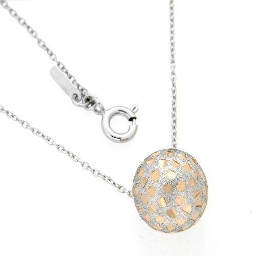 Kette Silber 925 rhodiniert mit Kugel 45 cm