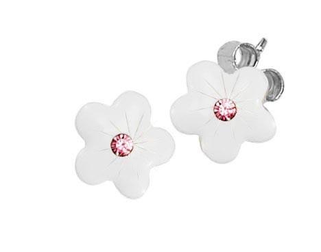 SCOUT Ohstecker weiß, silber Blumen 262160100
