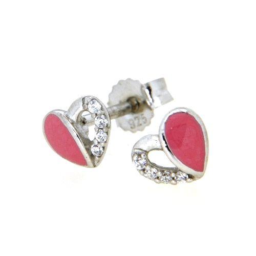 Ohrstecker Silber 925 rhodiniert Herz rosa lackiert