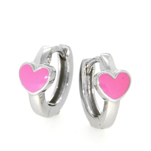 Scharniercreolen Silber 925 rhodiniert Herz pink