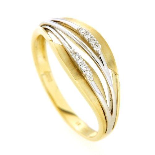Ring Gold 585 Brillant 0,07 ct. bicolor Weite 56