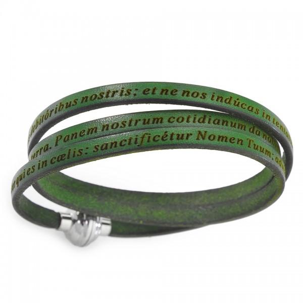 AMEN Armband 54 cm Leder grün VATER UNSER Latein PNLA21-54