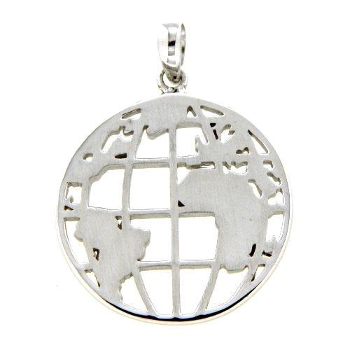 Anhänger Silber 925 rhodiniert Weltkarte