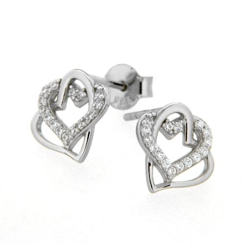 Ohrstecker Silber 925 rhodiniert Herz